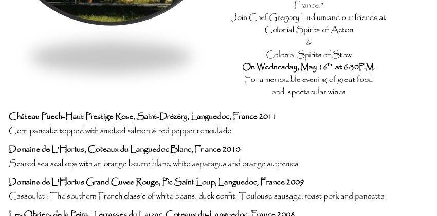 Sprigs & Colonial Languedoc Wine Dinner
