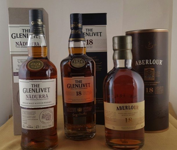 Aberlour 18 Year Old, Glenlivet 18 Year Old & Nàdurra Oloroso