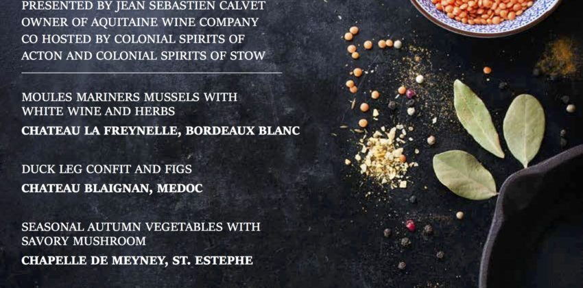 Colonial Spirits Bordeaux Wine Dinner at Rapscallion